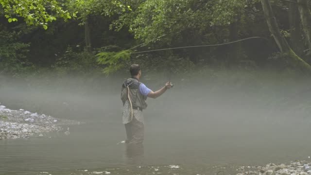 man fly fishing in vermont - angelrolle stock-videos und b-roll-filmmaterial