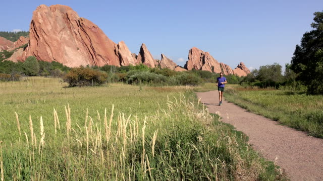 Man Fountain Trail running Roxborough State Park path red rocks Colorado Rocky Mountains video