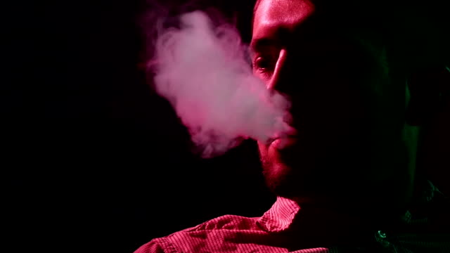 Man from a Hookah, Slow motion. silhouette