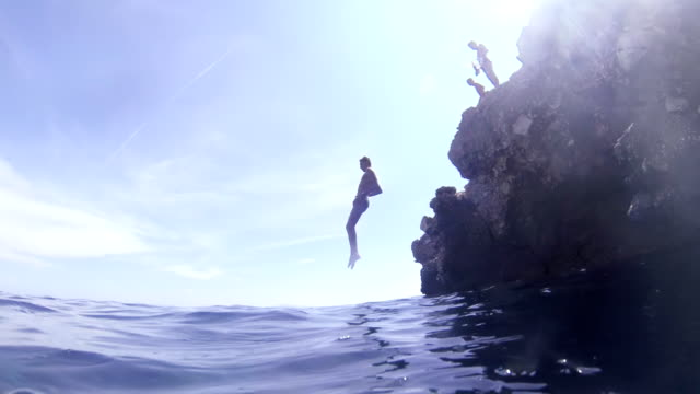 SLO MO Man Front Flipping Into The Sea video