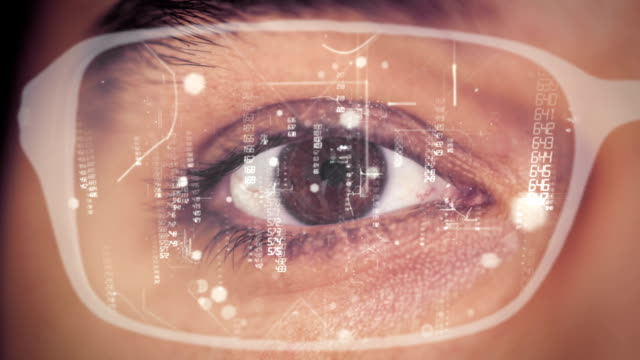 Man futuristic smart glasses video