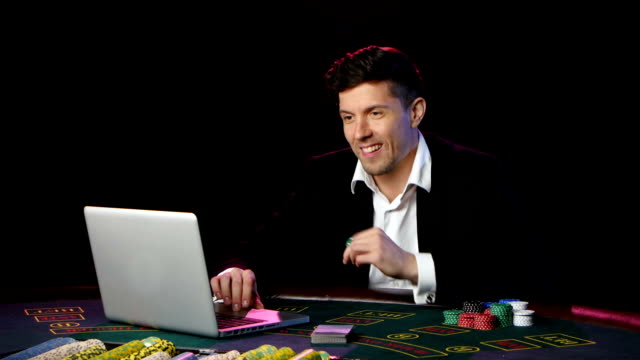 Man gamble in online casinos and lossing. Close up video