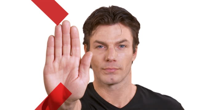 Man gestures you to stop video