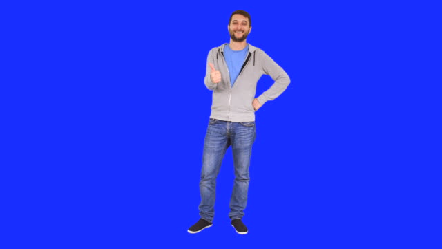 Man gesturing thumb up sign video