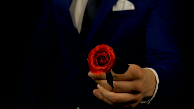Man giving red rose flower for first date - Vidéo