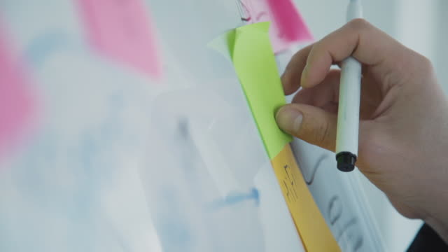 Man hand attaching sticky note to task board in office