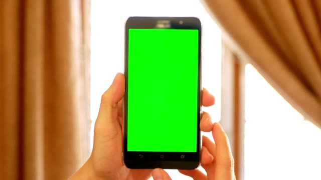 adam el ile yeşil perde chroma key - yerli kapalı sahne için mobil akıllı telefon tutarak - taşınabilirlik stok videoları ve detay görüntü çekimi