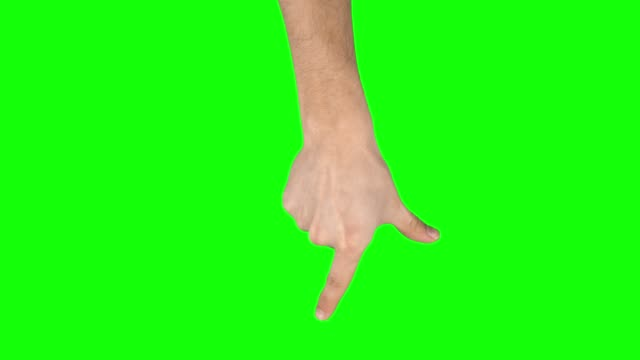 Man hand is performing Spread at tablet screen gesture on green screen. Close up Man hand is performing Spread at tablet screen gesture on green screen. Single hand pre-keyed touch-screen gestures, easily removed. Male hand showing multitouch gestures. Close up pinching stock videos & royalty-free footage