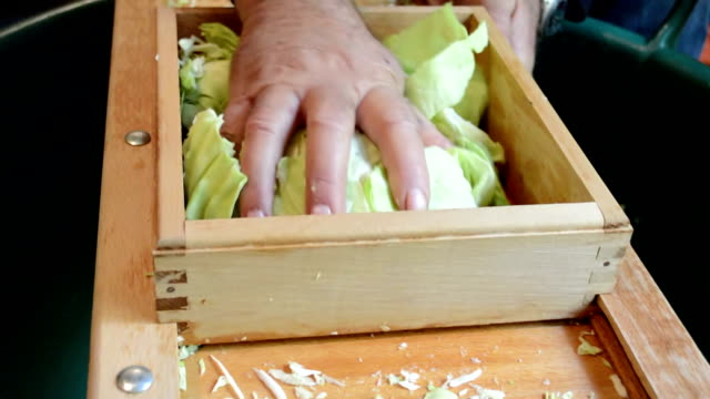Man Hands Cutting Cabbage video