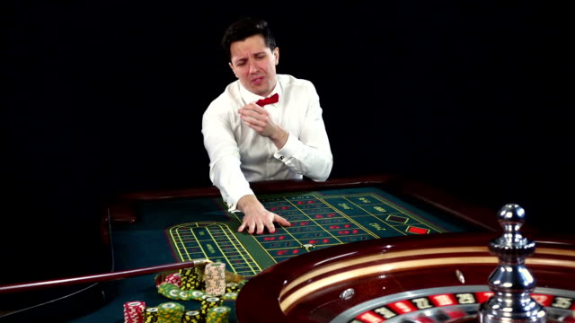 Man has lost in casino. Black video