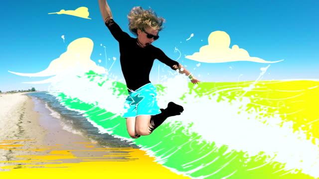 Man having fun on the beach video