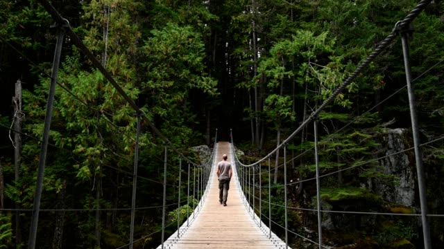 Man hiking across a suspension bridge to the forest