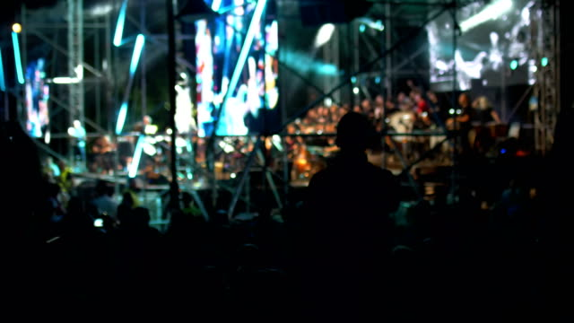 Man Hold Mobile Camera With Digital Display Among People During  Concert