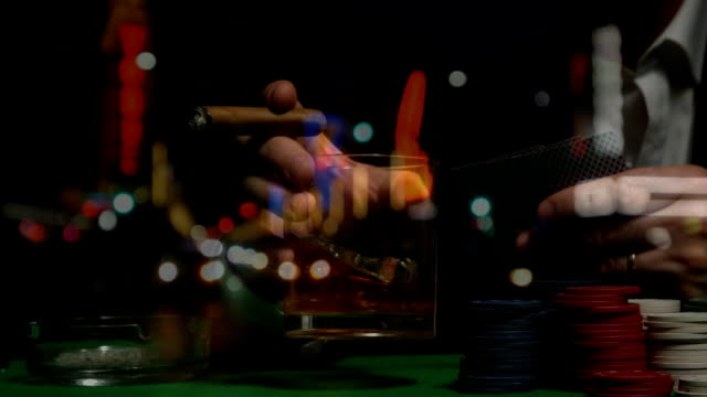 Man holding cigar and alcohol in Las Vegas