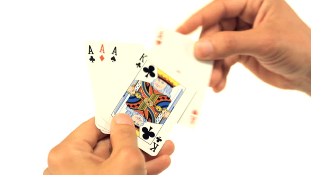 Man holding playing cards video
