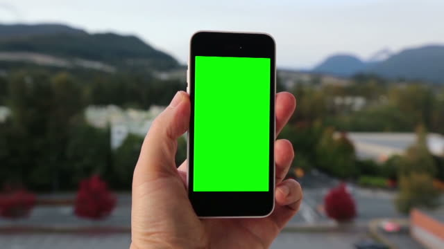 Man holds blank smart phone with green screen video