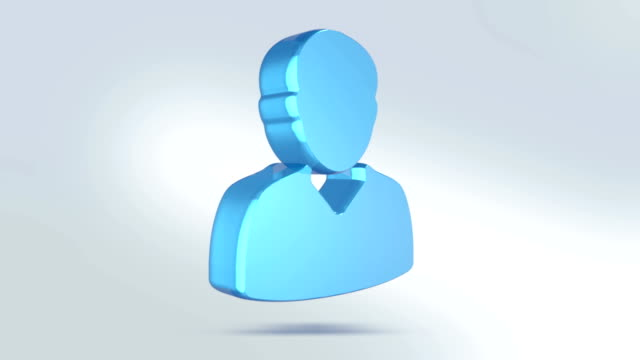 man icon is made of glass. translucent rotating man icon with alpha channel blue green color - people icon video stock e b–roll