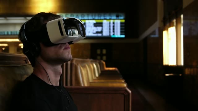 Man in 360 Vr Helmet Virtual Reality Glasses relaxing while traveling video
