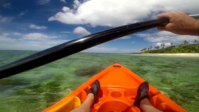 Man in a kayak in Fiji POV video