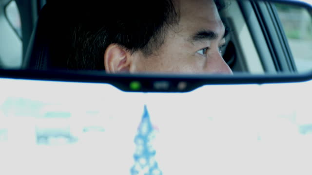 man in a mirror while driving car video