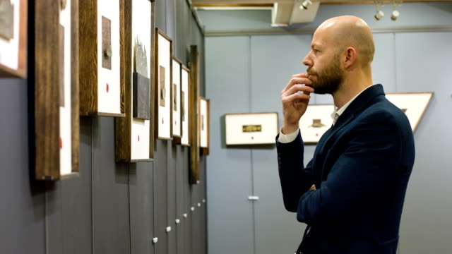 Man In Art Gallery video