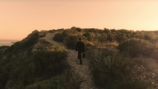 Man in elegant suit with briefcase walking on top of a cliff on an island video