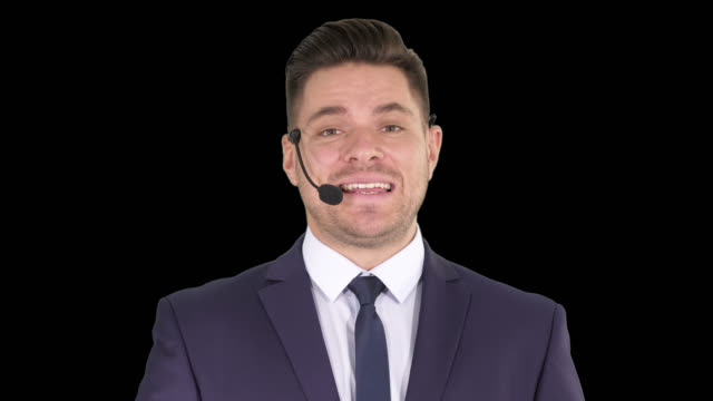 Man in formal clother with a headset presenting something, Alpha Channel