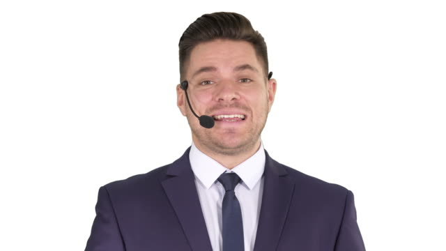 Man in formal clother with a headset presenting something on white background