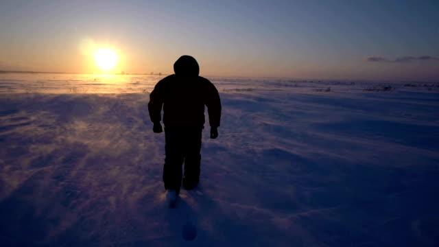 Man in frozen snow storm