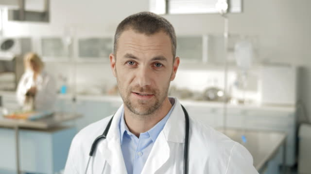 Man In Lab Coat Talking At Camera video