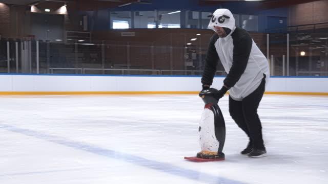 Man In Panda Suit Dancing On Ice