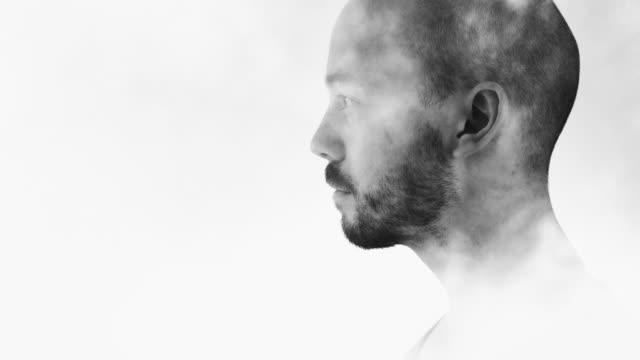 Man in Smoke Double Exposure