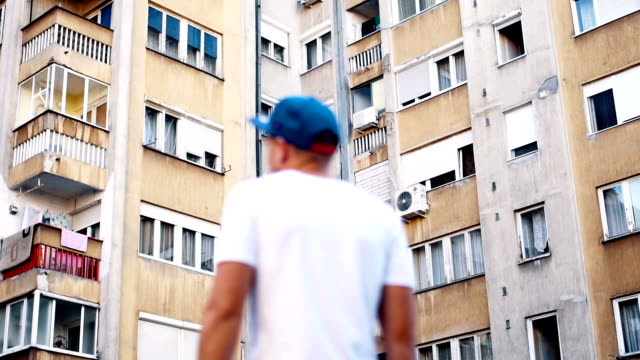 Man in the urban environment video