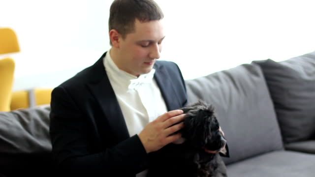 man in tuxedo with small dog video