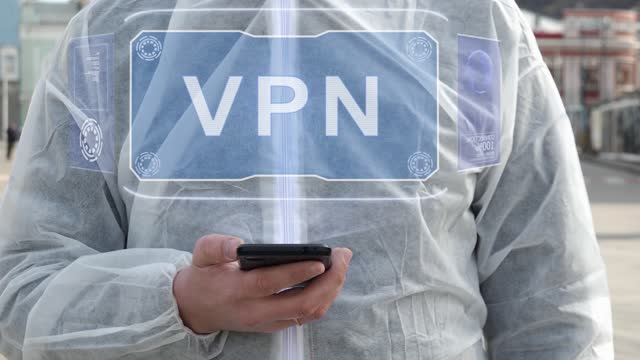 Man in white with text VPN