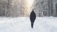 istock man in winter clothes walks through winter forest. Beautiful nature in Park. 1204233552