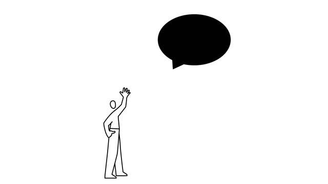 uomo gonfiare palloncino discorso - scarabocchio motivo ornamentale video stock e b–roll