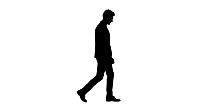 man is going to a business meeting and waving greetings. side view. white background. silhouette - sagoma controluce video stock e b–roll