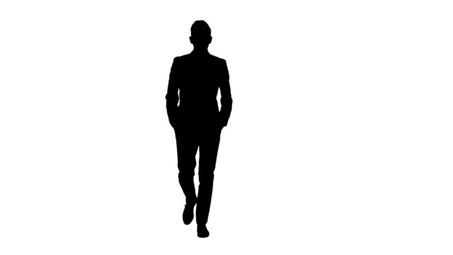 Man is going to a meeting and waving greetings. White background. Silhouette video