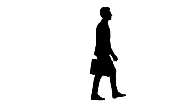 Man is going to a negotiation, he has a diplomat in his hands. White background. Silhouette video