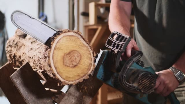 man is sawing a wood with an electrical chainsaw at carpentry, slow motion - motosega video stock e b–roll
