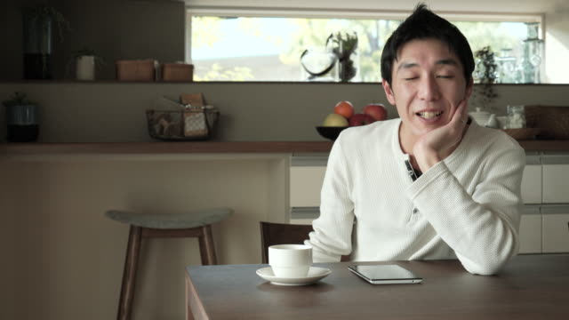 Man Is To Relax In The House Of Dining Video