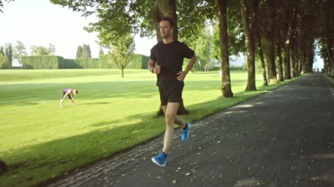 SLO MO TS Man jogging through a beautiful avenue in the park Slow motion wide tracking shot of a man jogging through a park tree lane and listening to music. 10 seconds or greater stock videos & royalty-free footage
