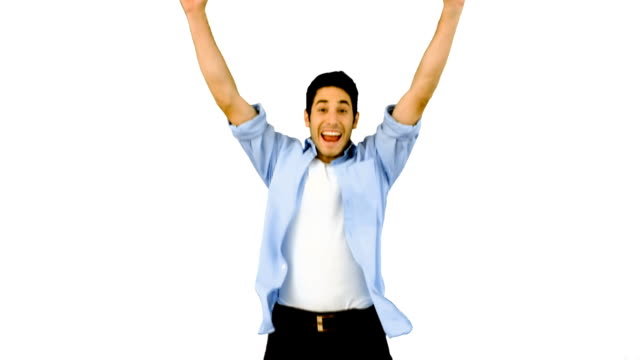 Man jumping for joy on white background video