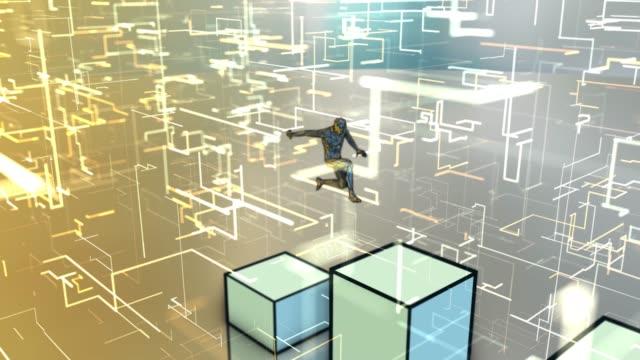 mann springt auf wachsende schart, um die spitze des diagramms zu erreichen - effektivität stock-videos und b-roll-filmmaterial