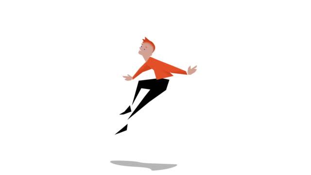 男ジャンプ - 拳 イラスト点の映像素材/bロール