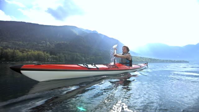Man Kayaking On The Lake