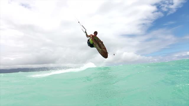 Man Kitesurfing In Ocean Extreme Sport video