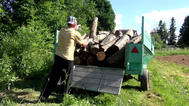 man load log wood trailer video