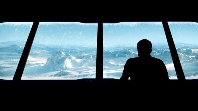 Man Looks Out From Arctic Base video